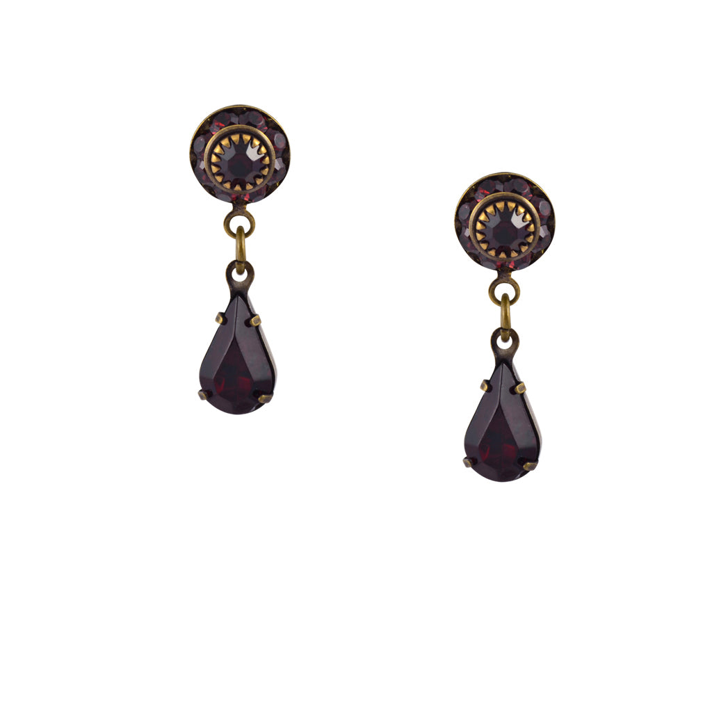 Caroline Heath Small Round Crystal Stud Earrings, Antique Brass Posts in Red