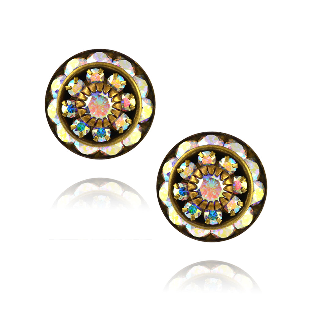 Caroline Heath Round Layered Crystal Stud Earrings, Antique Brass Posts in AB