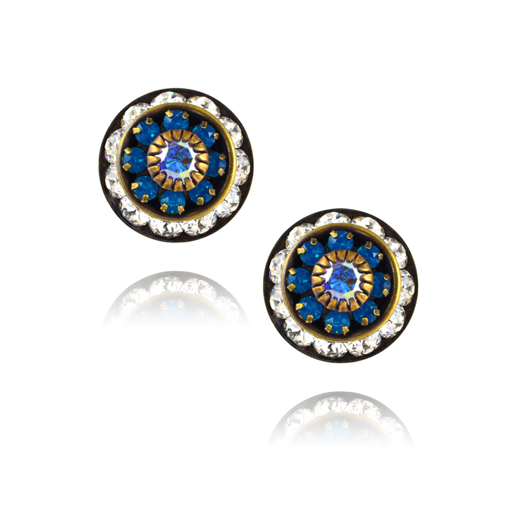 Caroline Heath Round Layered Crystal Stud Earrings, Antique Brass Posts in Clear/Blue