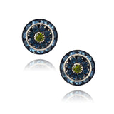 Caroline Heath Round Layered Crystal Stud Earrings, Antique Silver Plated Posts in Blue/Green