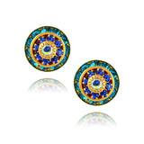 Caroline Heath Round Layered Crystal Stud Earrings, Gold Plated Posts in Blue/AB