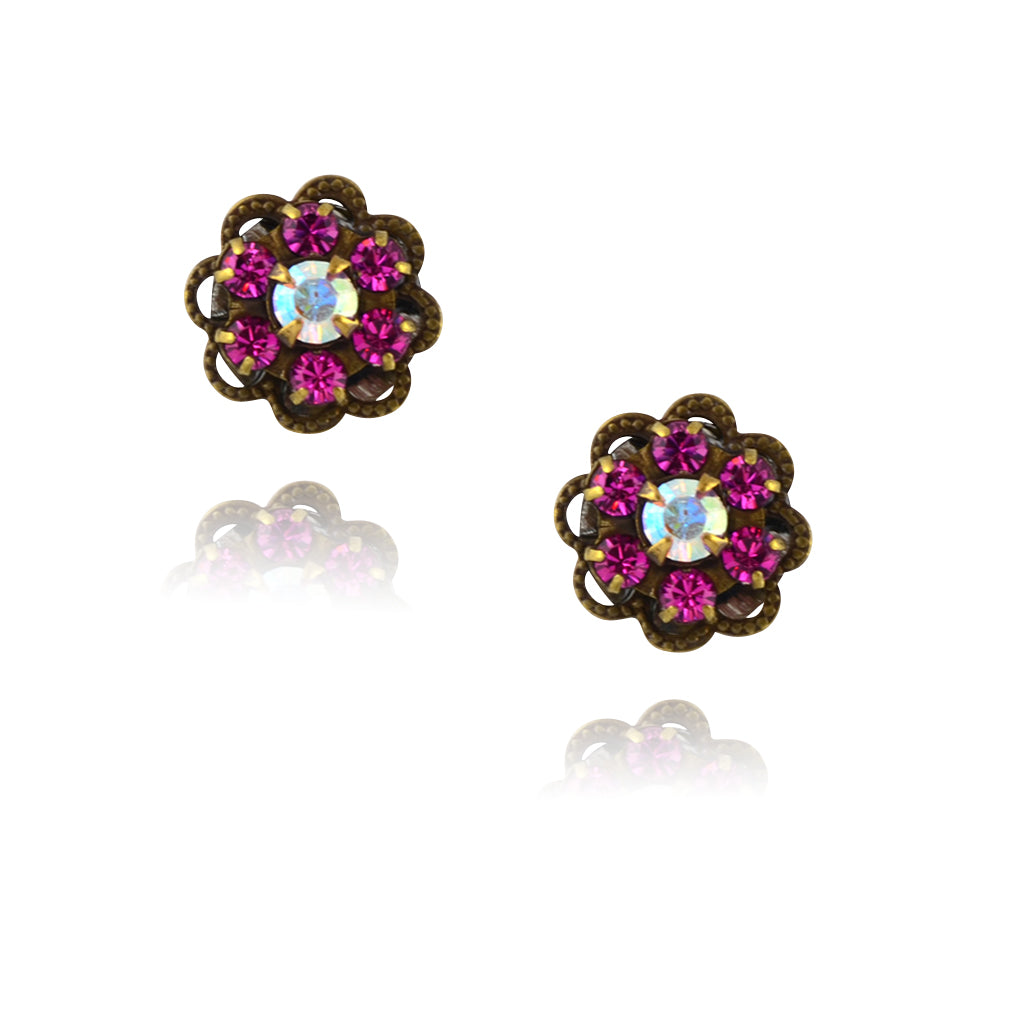 Caroline Heath Small Crystal Flower Stud Earrings, Antique Brass Posts in Pink/AB