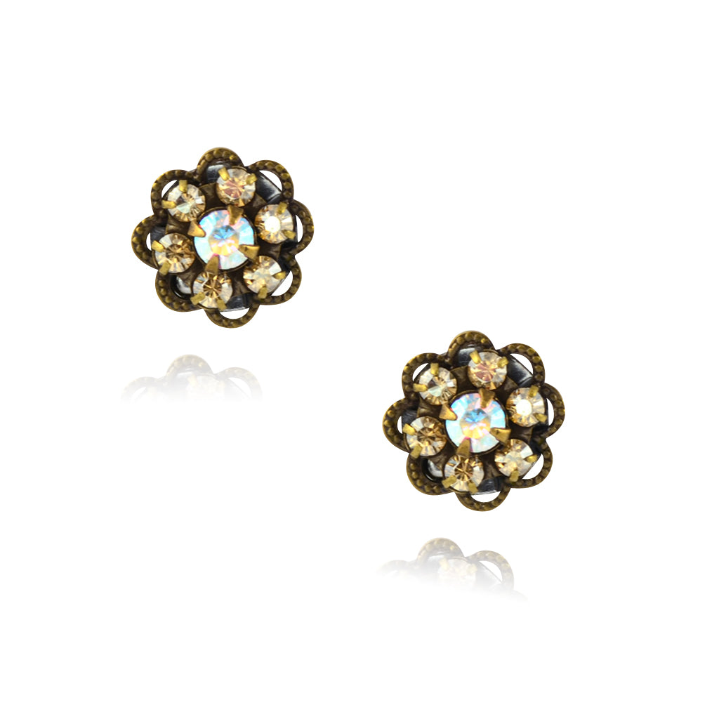 Caroline Heath Small Crystal Flower Stud Earrings, Antique Brass Posts in Fawn/AB