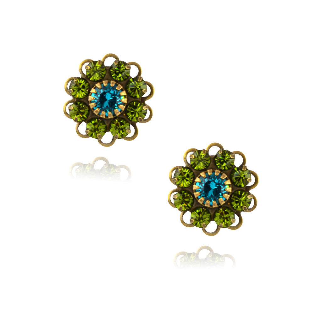 Caroline Heath Small Crystal Flower Stud Earrings, Antique Brass Posts in Green/Blue