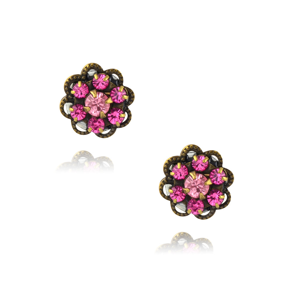 Caroline Heath Small Crystal Flower Stud Earrings, Antique Brass Posts in Pink