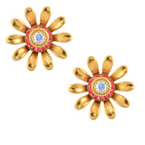 Caroline Heath Flower Stud Earrings, Gold Plated Posts in Pink