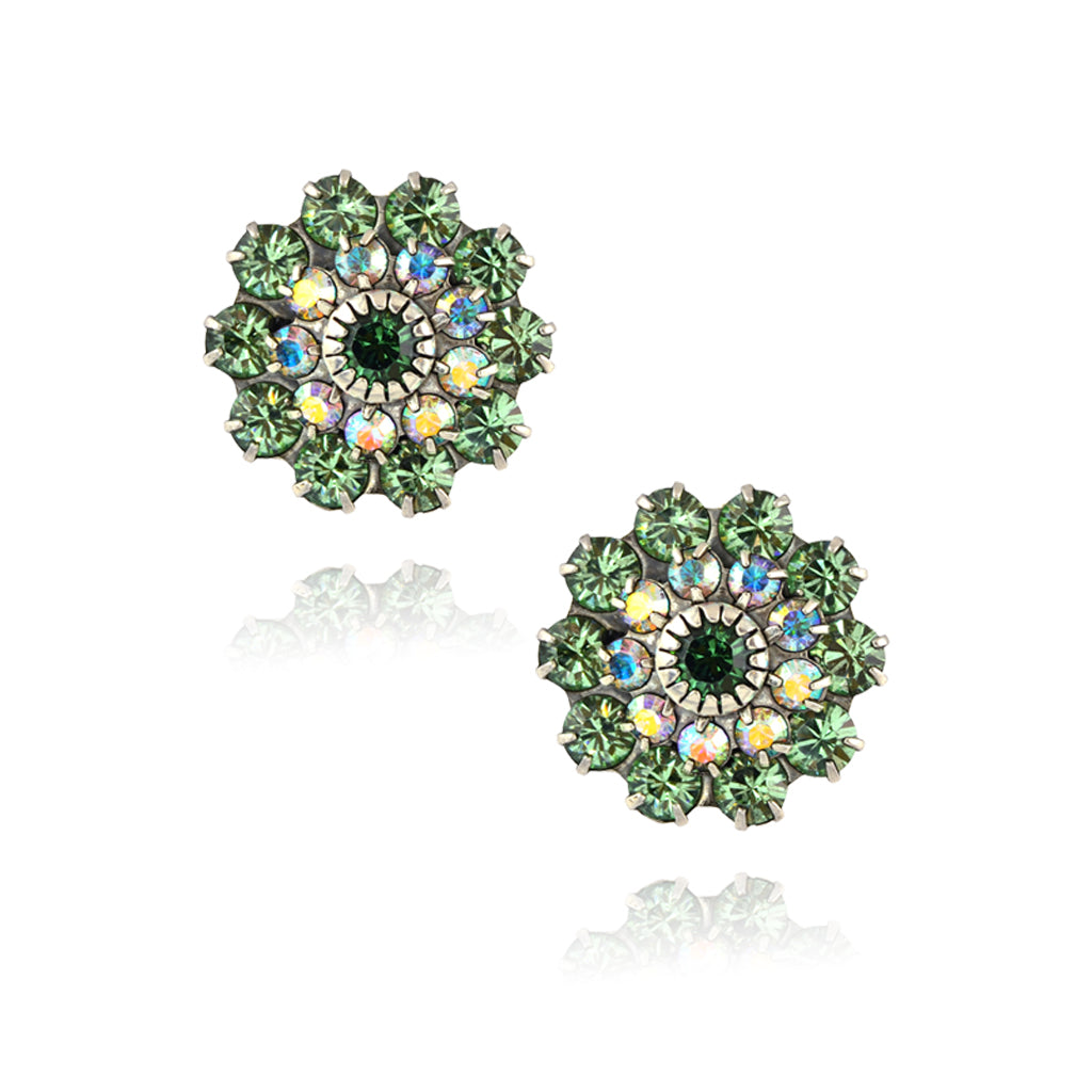 Caroline Heath Large Crystal Flower Stud Earrings, Antique Silver Plated Posts in Green/AB