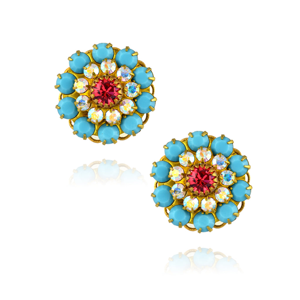 Caroline Heath Large Crystal Flower Stud Earrings, Gold Plated Posts in Teal/Pink