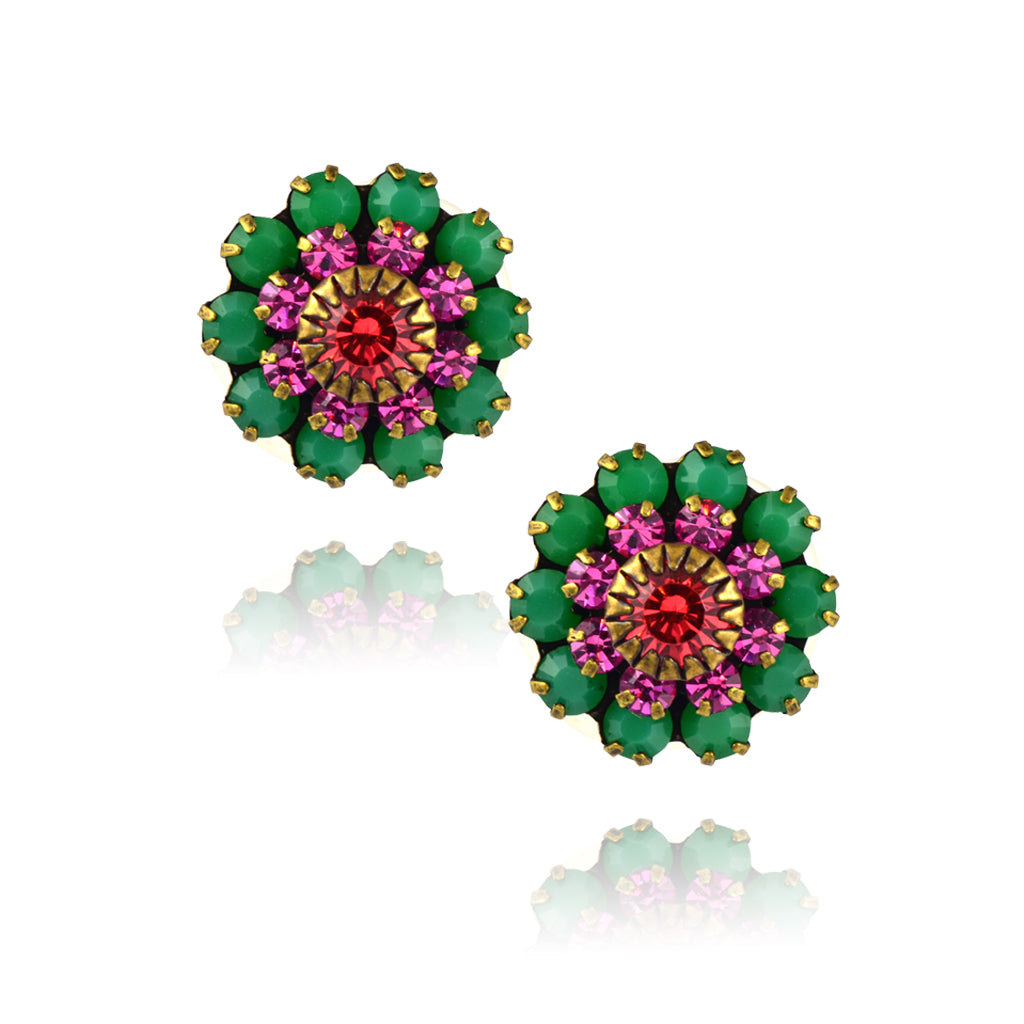 Caroline Heath Crystal Flower Stud Earrings, Antique Brass Posts in Green/Pink