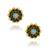 Caroline Heath Crystal Flower Stud Earrings, Gold Plated Posts in Black/Teal