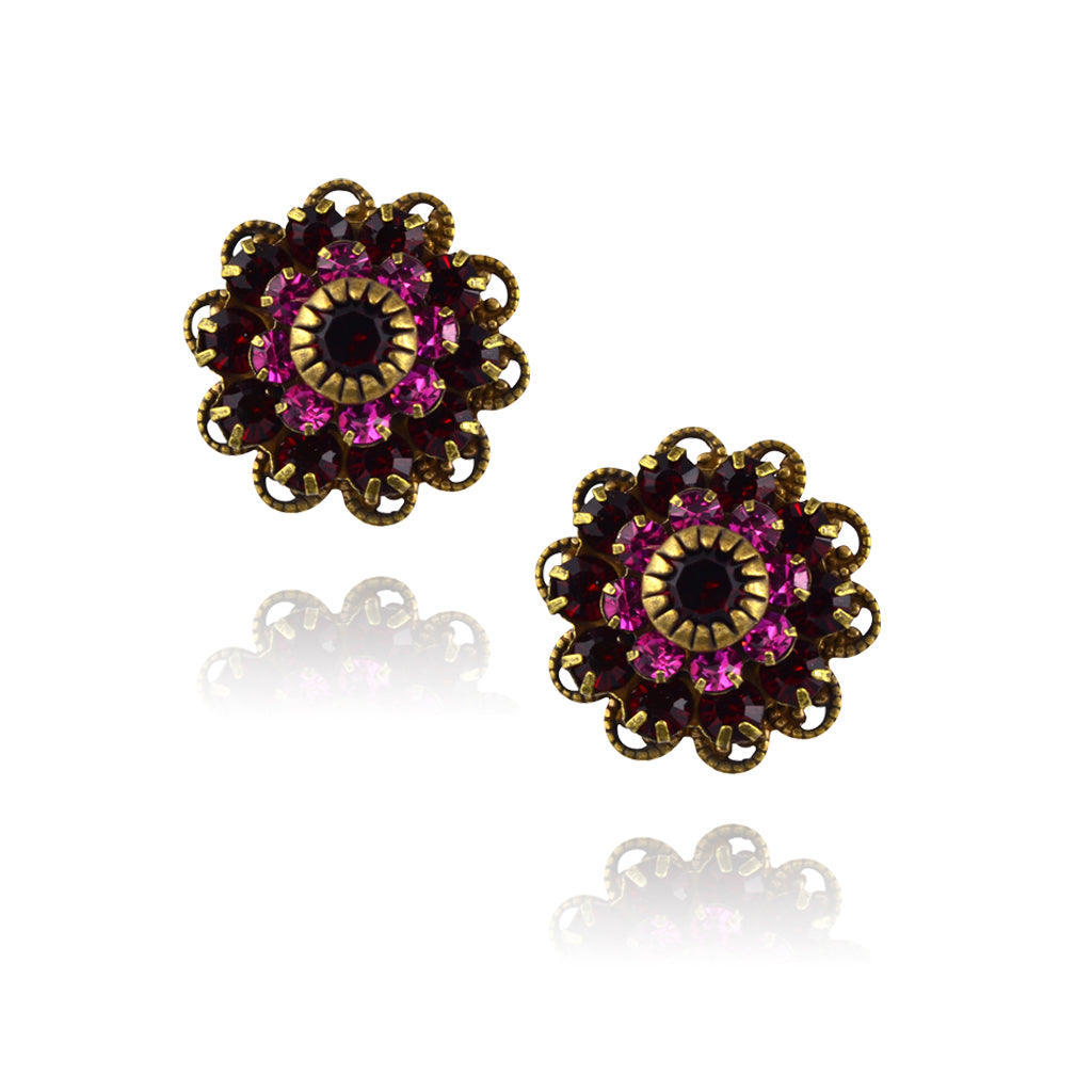 Caroline Heath Crystal Flower Stud Earrings, Antique Brass Posts in Red/Pink