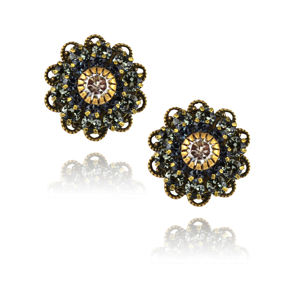 Caroline Heath Crystal Flower Stud Earrings, Antique Brass Posts in Gray/Blue