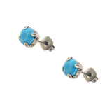 Caroline Heath Small Round Crystal Stud Earrings, Silver Plated Post with Teal Crystal