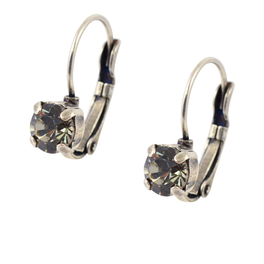 Caroline Heath Small Round Crystal Drop Earrings, Silver Plated French Leverback with Gray Circle
