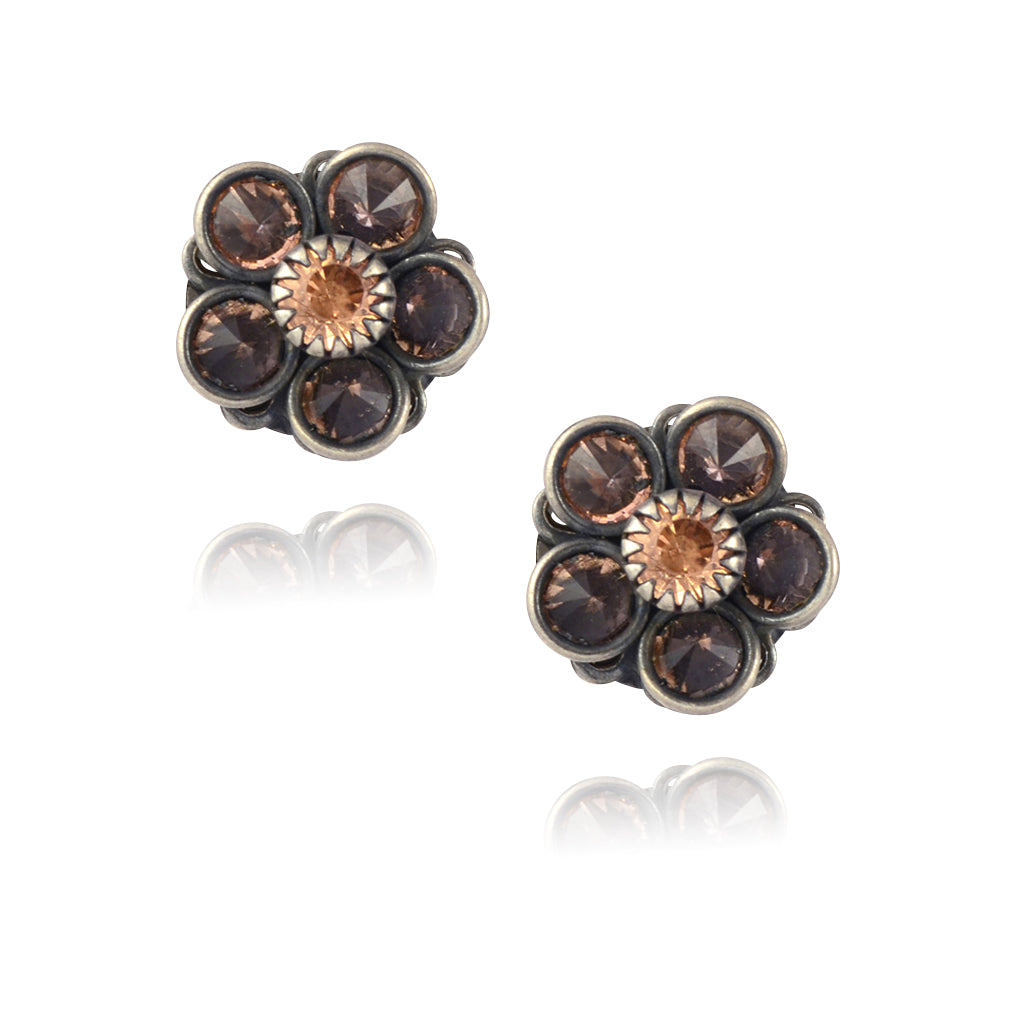 Caroline Heath Crystal Flower Stud Earrings, Antique Silver Plated Posts in Light Fawn