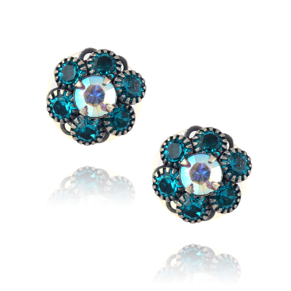 Caroline Heath Crystal Flower Stud Earrings, Antique Silver Plated Posts in Blue/AB