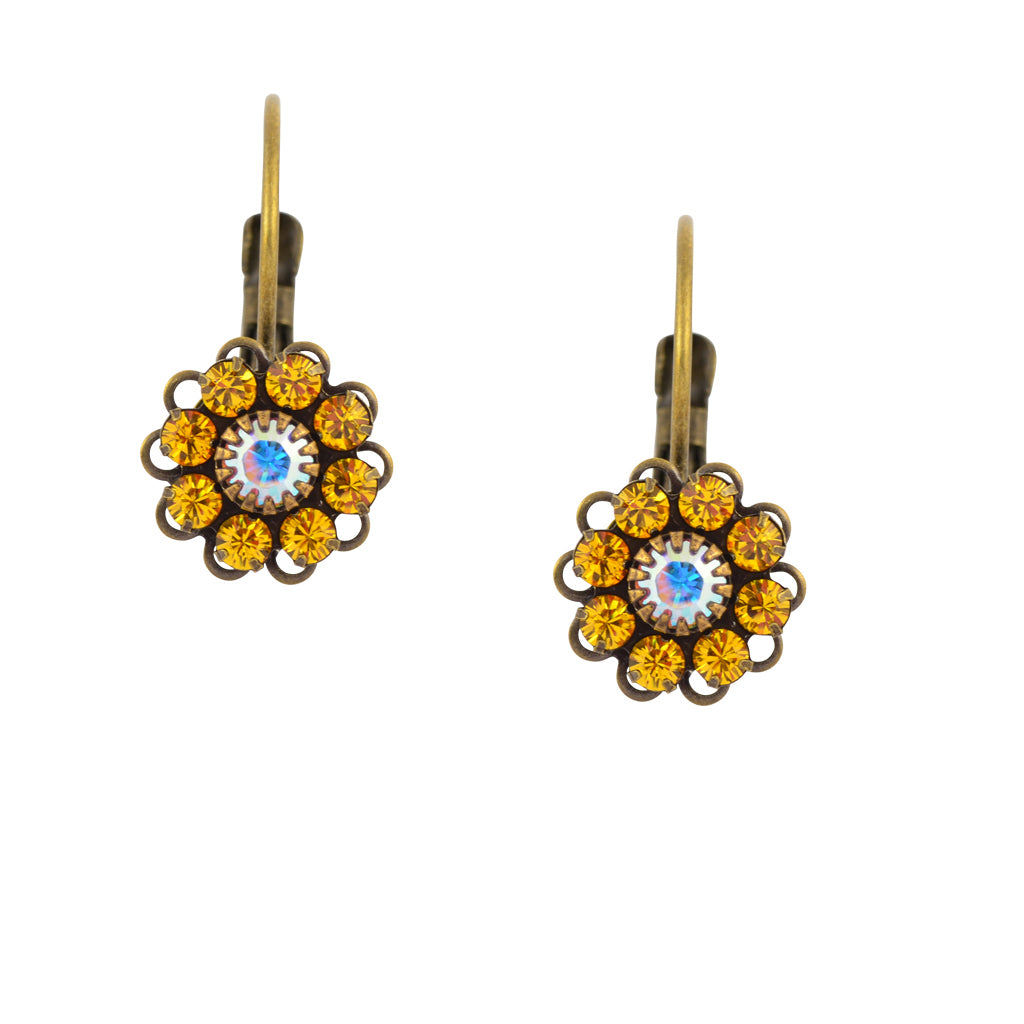 Caroline Heath Crystal Round Leverback Drop Earrings, Antique Brass in Yellow and AB
