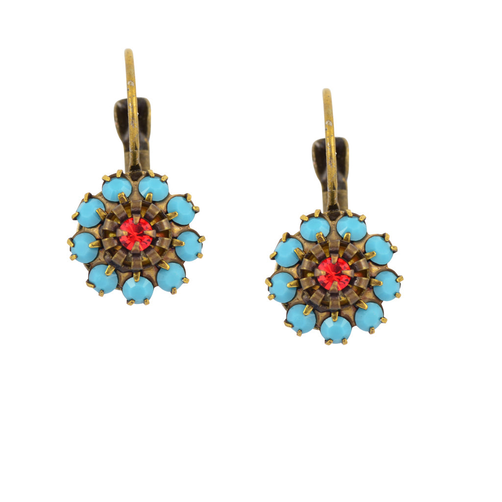 Caroline Heath Crystal Round Leverback Drop Earrings, Antique Brass in Teal and Orange