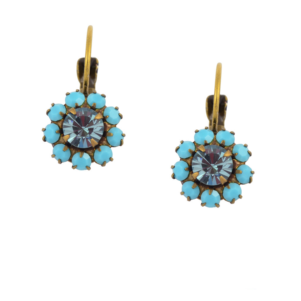 Caroline Heath Crystal Round Leverback Drop Earrings, Antique Brass in Teal and Blue
