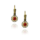 Caroline Heath Crystal Round Leverback Drop Earrings, Antique Brass in Clear/Red