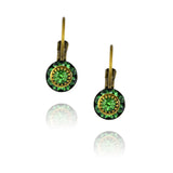 Caroline Heath Crystal Round Leverback Drop Earrings, Antique Brass in Green