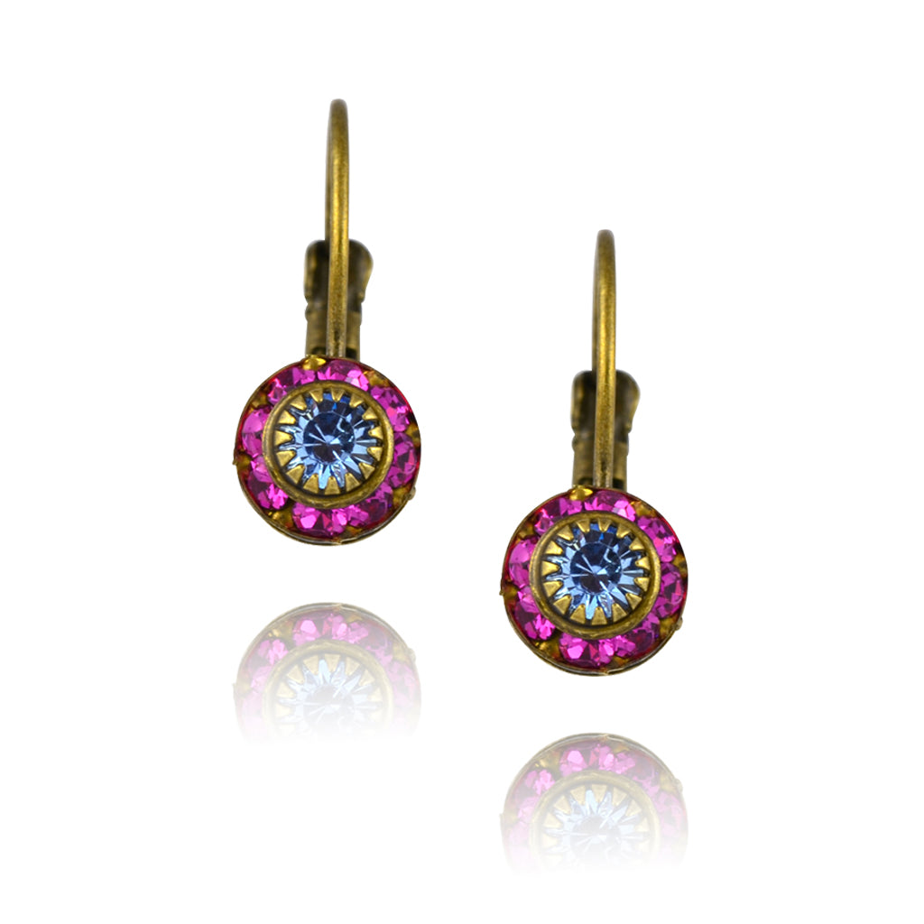 Caroline Heath Crystal Round Leverback Drop Earrings, Antique Brass in Pink/Blue
