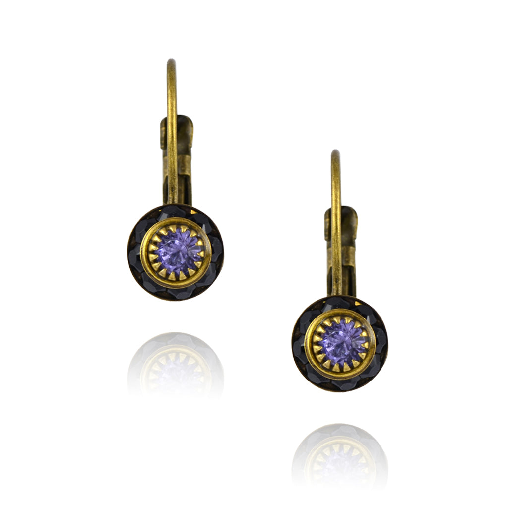 Caroline Heath Crystal Round Leverback Drop Earrings, Antique Brass in Black/Purple
