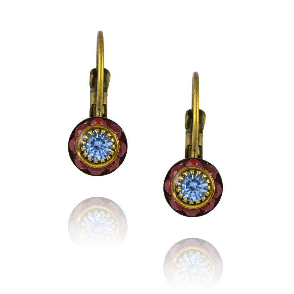 Caroline Heath Crystal Round Leverback Drop Earrings, Antique Brass in Red/Blue