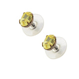 Caroline Heath Small Oval Crystal Stud Earrings, Antique Brass Posts in Yellow