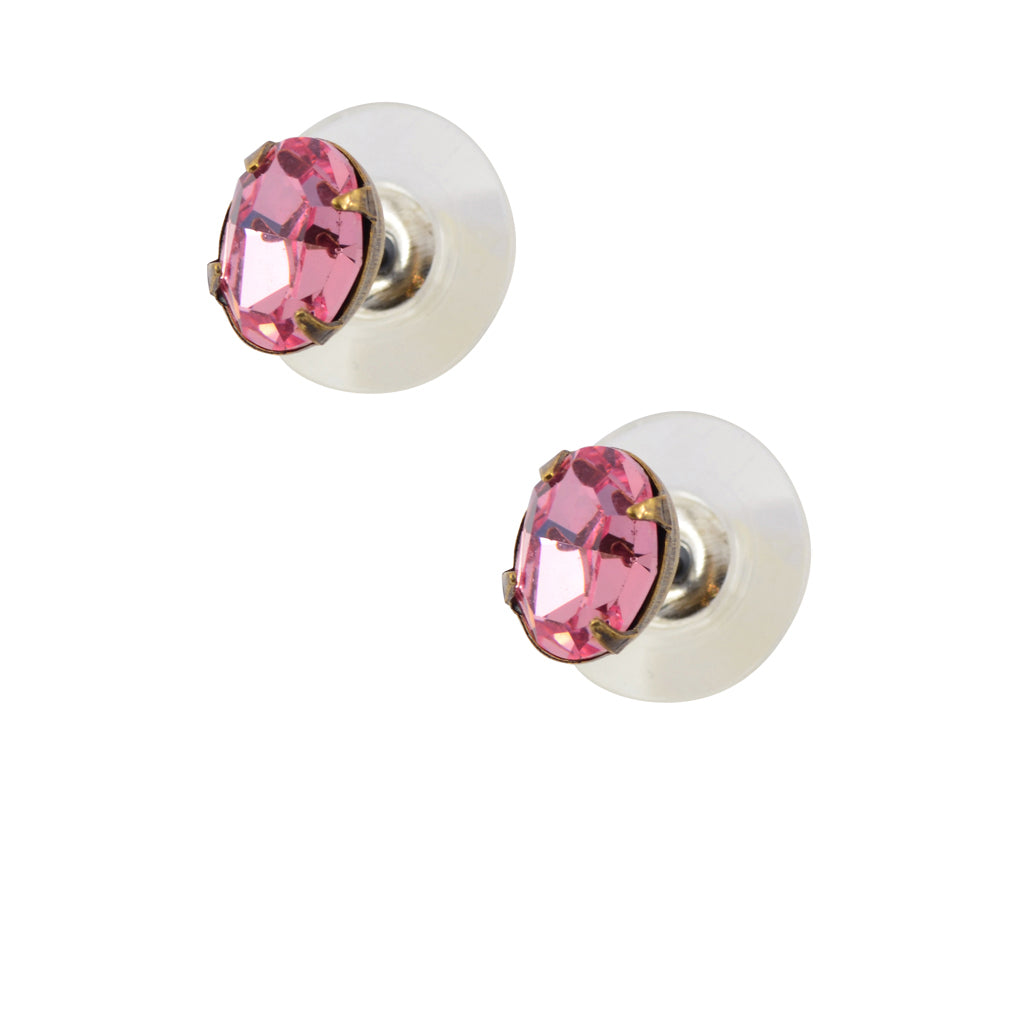 Caroline Heath Small Oval Crystal Stud Earrings, Antique Brass Posts in Light Pink