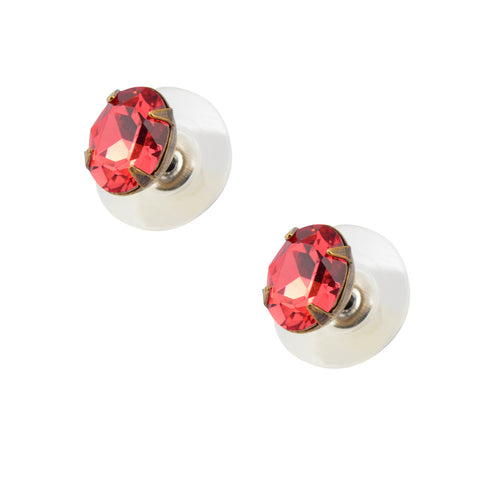 Caroline Heath Small Round Crystal Stud Earrings Antique Brass Posts in Clear and Blue
