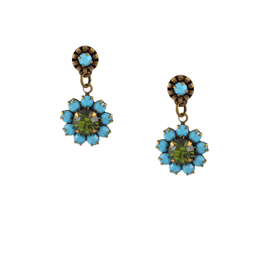 Caroline Heath Flower Crystal Stud Earrings, Antique Brass Posts in Teal and Green