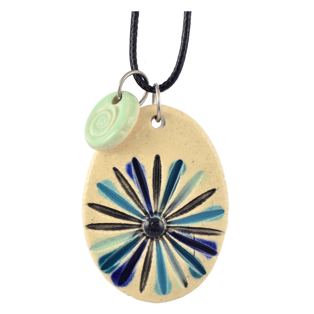 Cheryl Stevens Blue Dandelion, Kiln Fired Clay Pendant Necklace, Leather Chain, 28""