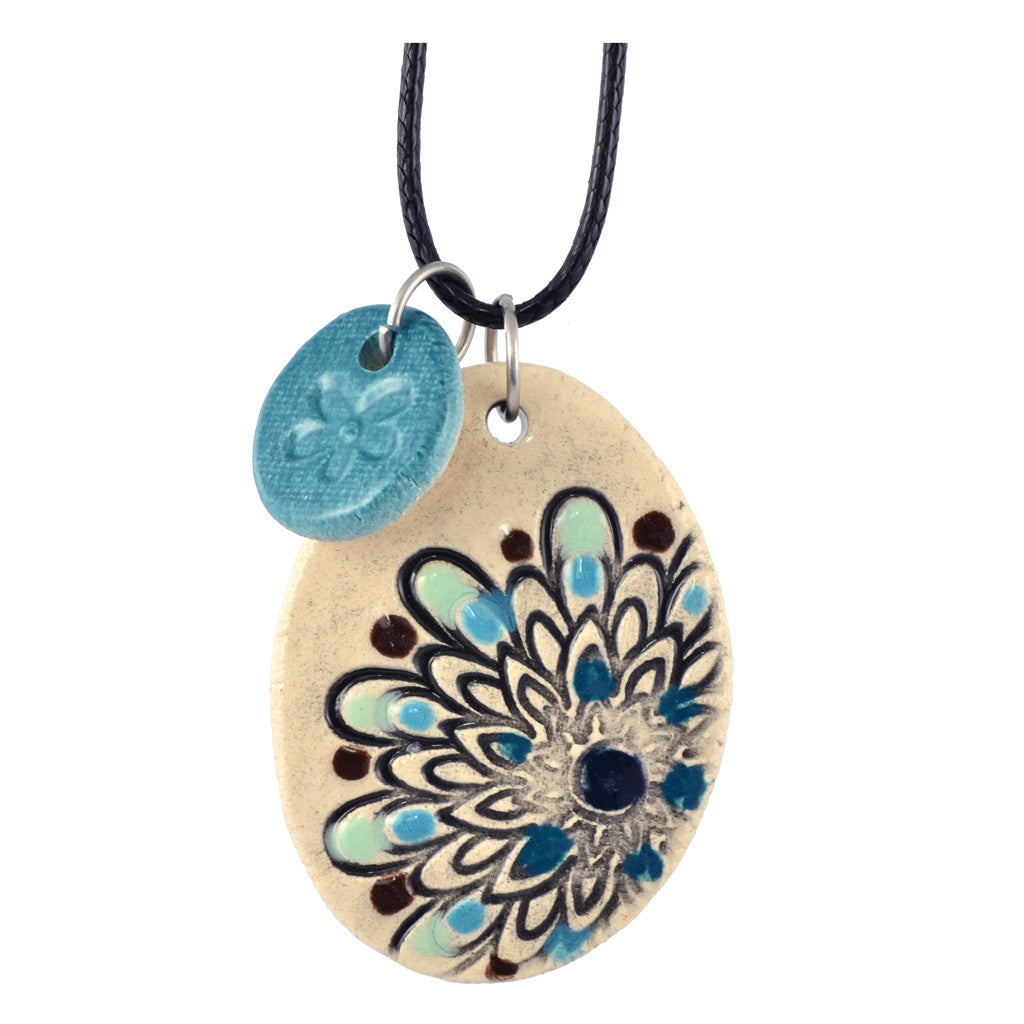 Cheryl Stevens Blue Tone Flower, Kiln Fired Clay Pendant Necklace, Leather Chain, 28""