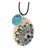 Cheryl Stevens Blue Tone Flower, Kiln Fired Clay Pendant Necklace, Leather Chain, 28