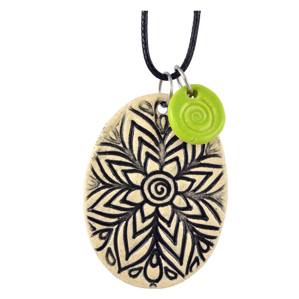 Cheryl Stevens Chrysanthemum, Kiln Fired Clay Pendant Necklace, Leather Chain, 28""