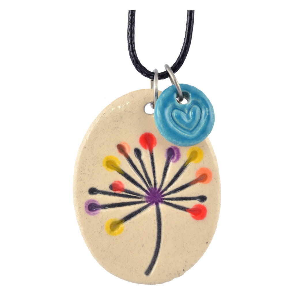 Cheryl Stevens Color Dandelion, Kiln Fired Clay Pendant Necklace, Leather Chain, 28""