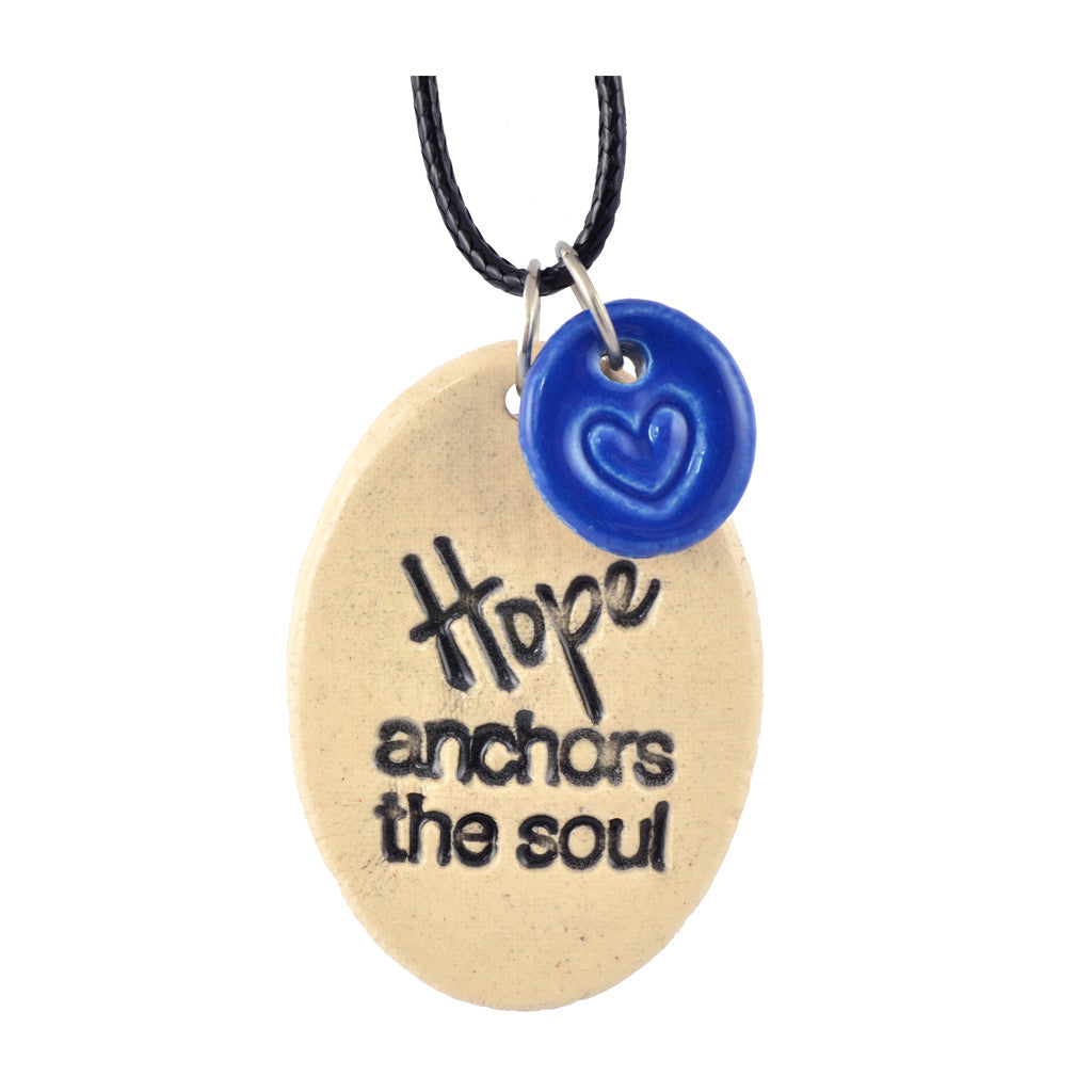 Cheryl Stevens Hope Anchors the Soul, Kiln Fired Clay Pendant Necklace, Leather Chain, 28""