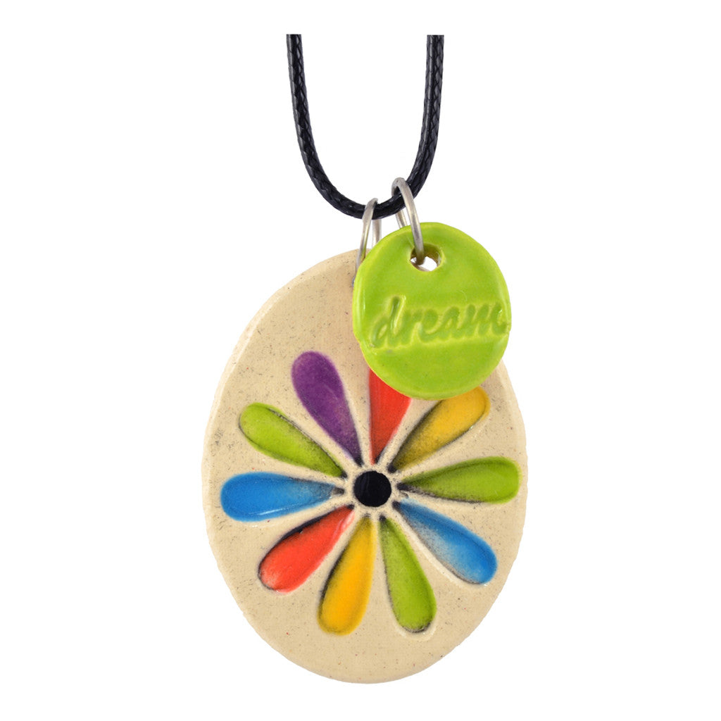 Cheryl Stevens Rainbow Flower, Kiln Fired Clay Pendant Necklace, Leather Chain, 28""