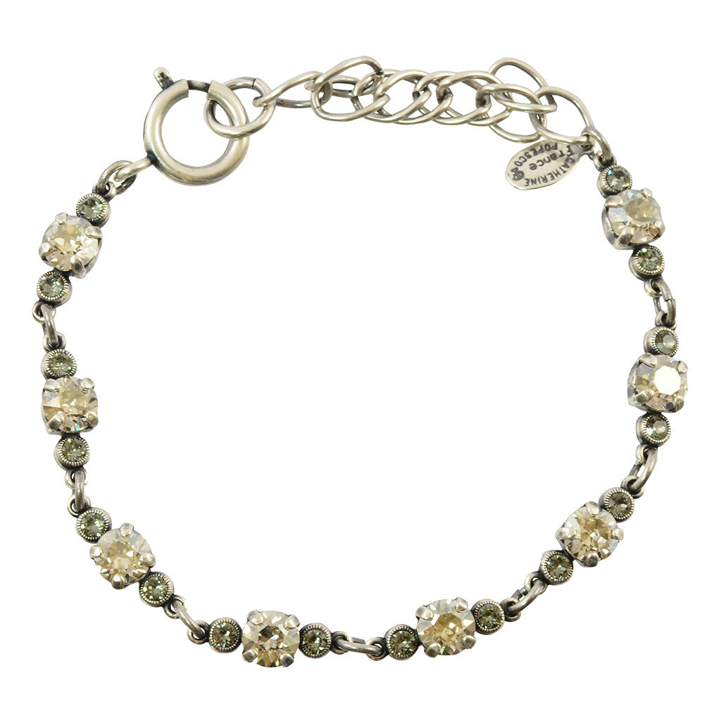 Catherine Popesco Crystal Pairs Tennis Bracelet, La Vie Parisienne Silver Plated, 8 1684