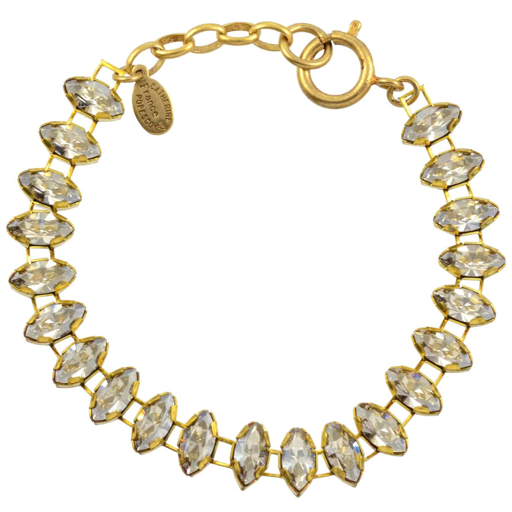 Catherine Popesco Eye Shaped Tennis Bracelet, La Vie Parisienne Gold Plated with Grey Swarovski Crystal, 8 1637G SILS
