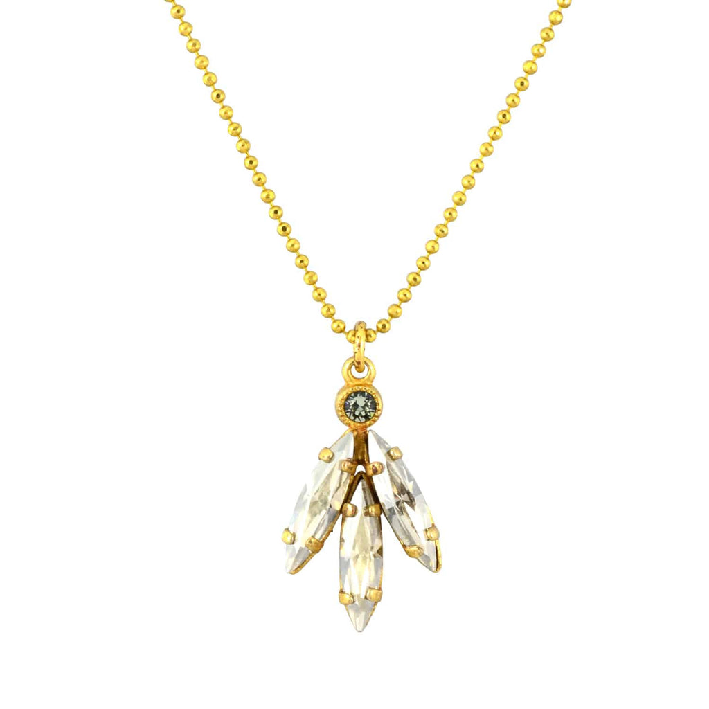 Catherine Popesco Gold Plated Art Deco 3 Spike Pendant Necklace with Swarovski Crystal, 16+2