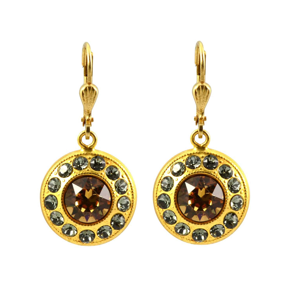 Catherine Popesco Gold Plated Baroque Round Circle Dangle Earrings with Swarovski Crystal