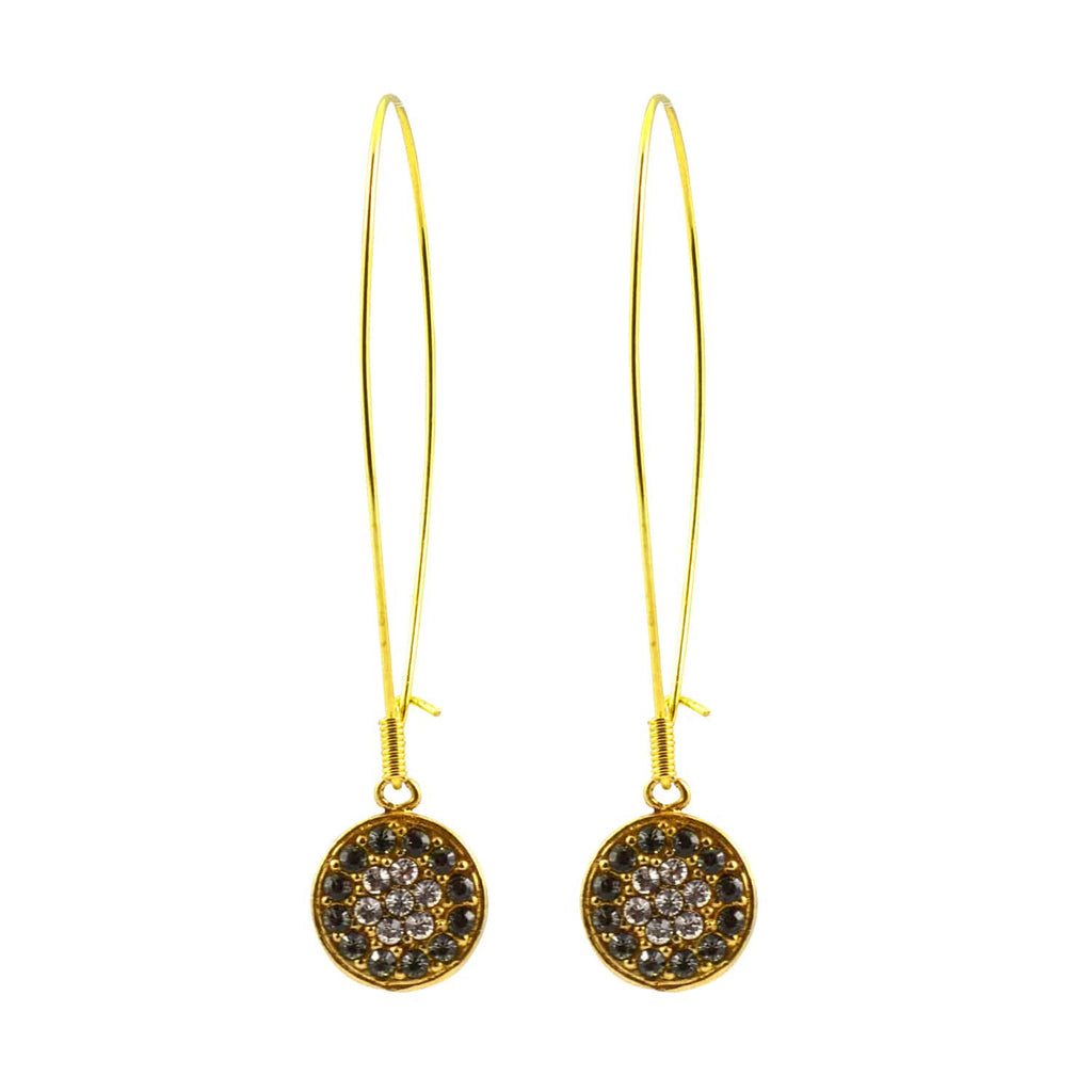 Catherine Popesco Gold Plated Baroque Round Dangle Earrings with Swarovski Crystal