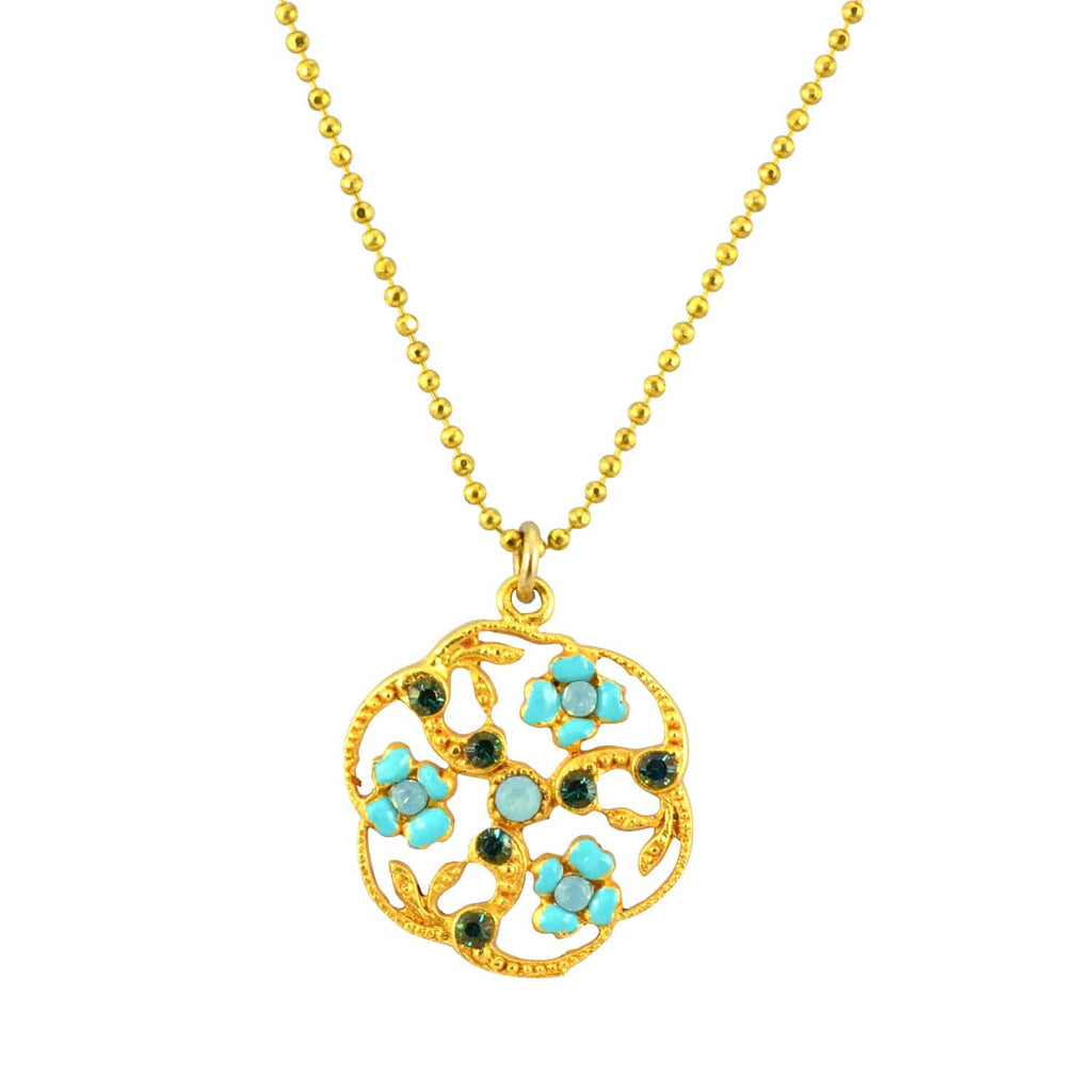 Catherine Popesco Gold Plated Cutout Filigree Flowers Pendant Necklace with Swarovski Crystal, 18+2