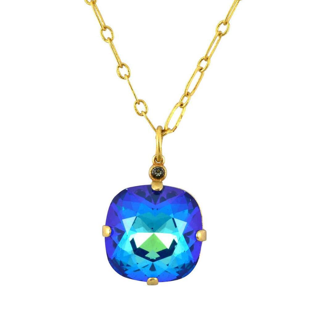 Catherine Popesco Gold Plated Large Rounded Square Swarovski Crystal Pendant Necklace, 16+2