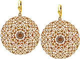 Catherine Popesco Gold Plated Round Cutout Filigree Dangle Earrings with Swarovski Crystal