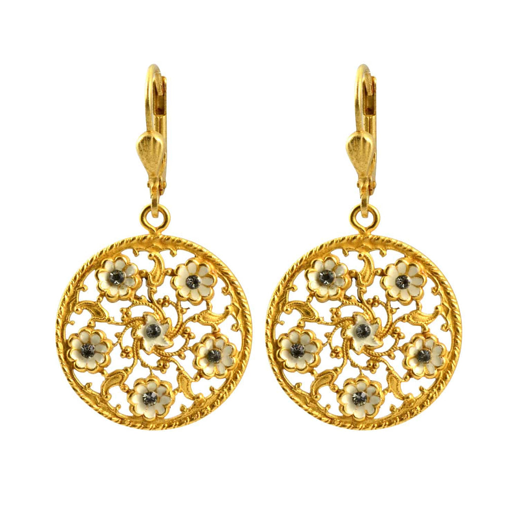 Catherine Popesco Gold Plated Round Cutout Filigree Flower Enamel Dangle Earrings with Swarovski Crystal