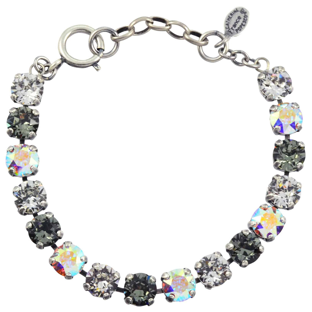 Catherine Popesco Medium Round Tennis Bracelet, La Vie Parisienne Silver Plated with Grey Swarovski Crystal, 8 1652B BD
