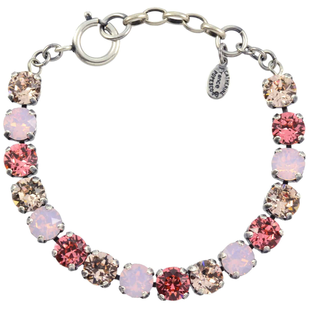 Catherine Popesco Medium Round Tennis Bracelet, La Vie Parisienne Silver Plated with Pink Swarovski Crystal, 8 1652B ROS